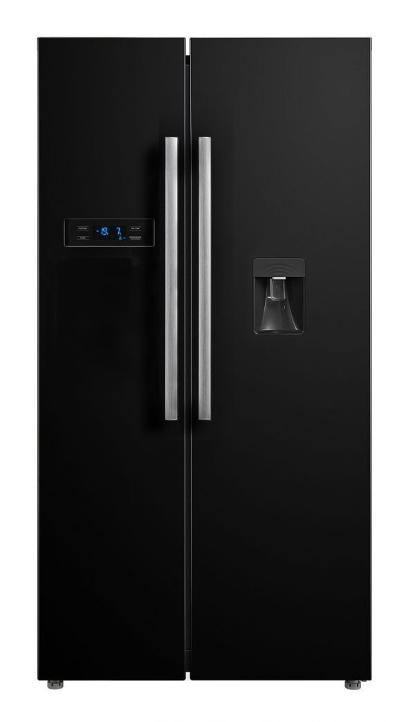 Montpellier M520WDK Side-By-Side Fridge Freezer in Black
