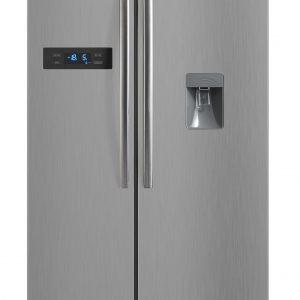 Montpellier M520WDS Side-By-Side Fridge Freezer in Silver