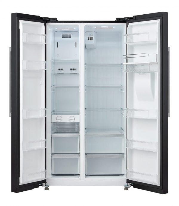 Montpellier M520WDK Side-By-Side Fridge Freezer in Black 1