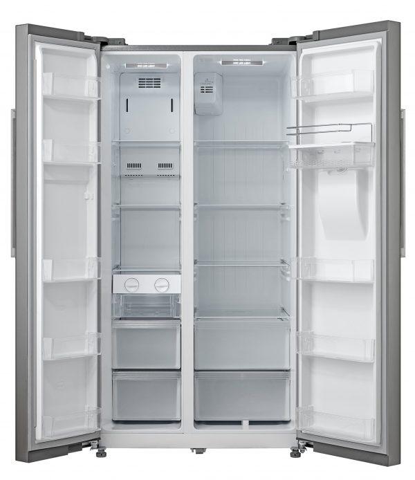 Montpellier M520WDS Side-By-Side Fridge Freezer in Silver 1