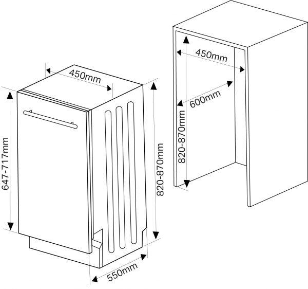 Montpellier MDI500 Slimline Integrated Dishwasher 3