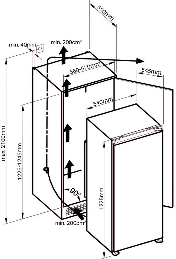 Montpellier MICR122 In-Column Icebox Fridge 4