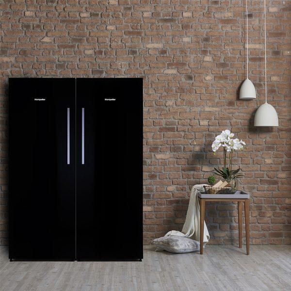 Montpellier MLM308BG Tall Black Glass Larder Fridge 5