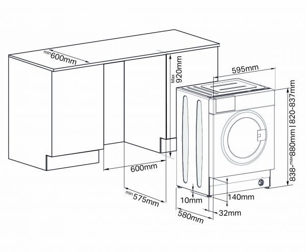 Montpellier MWBI6012 Integrated Washing Machine 4