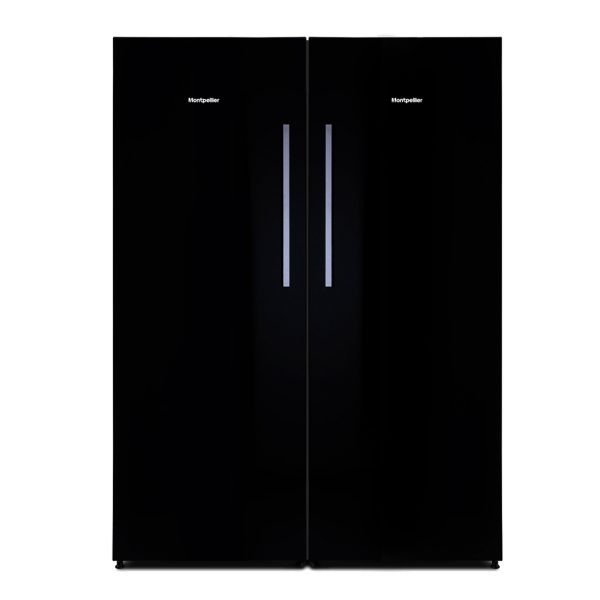 Montpellier MLM308BG Tall Black Glass Larder Fridge 2