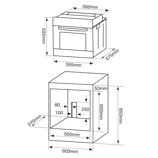 Montpellier SFO68MFB Single Oven – New 2018 Model 3